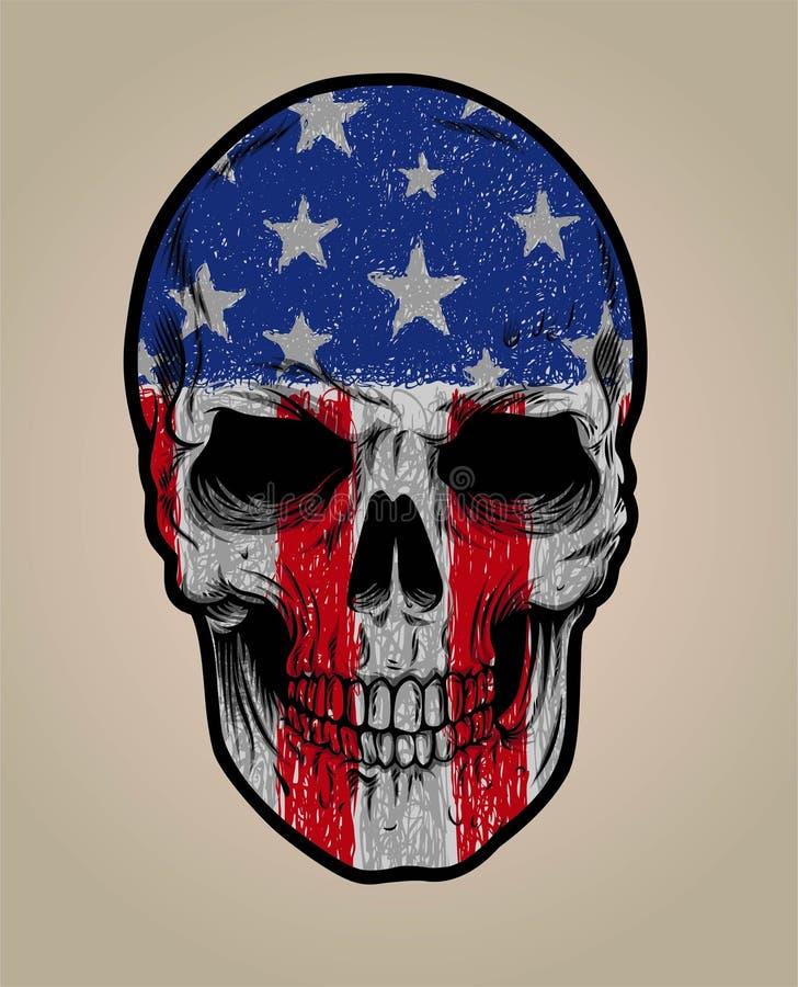Amerikanisches Schädelgesicht und Schmutzflage oder -beschaffenheit lizenzfreies stockfoto