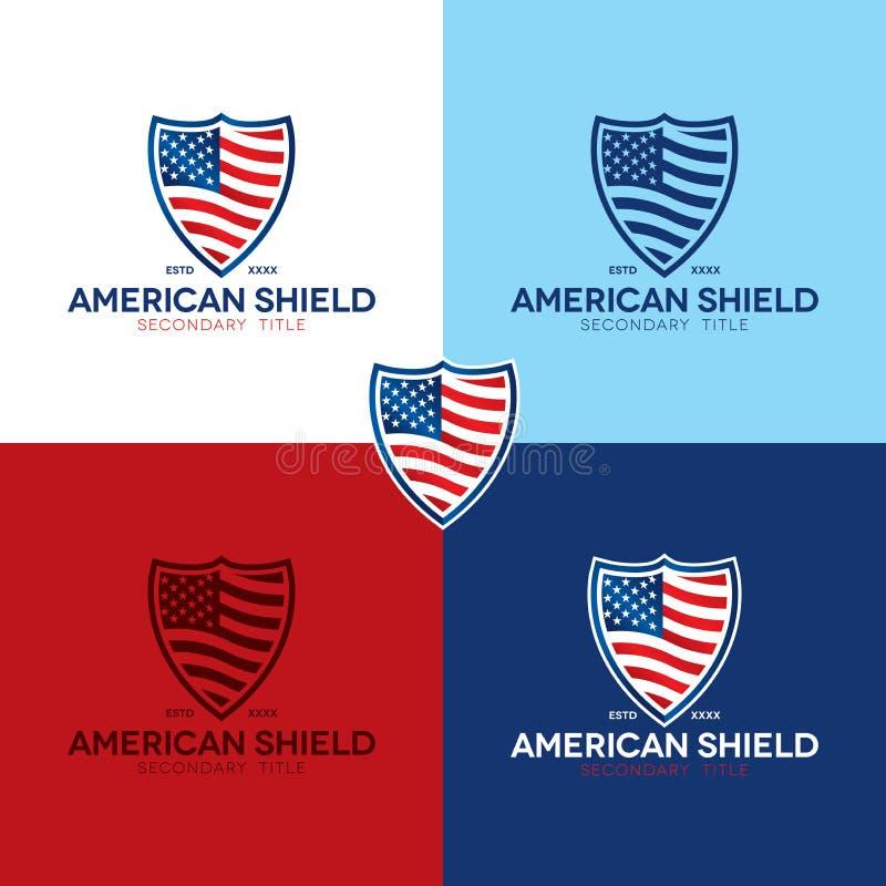 Amerikanisches Schild-Logo und Ikone - Vektor-Illustration stockbild
