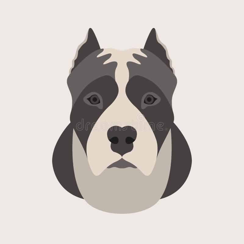 Amerikanisches Staffordshire-Terrierkopfgesichts-Vektorart flach vektor abbildung