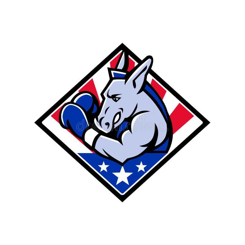 Amerikansk åsnaboxareUSA maskot stock illustrationer
