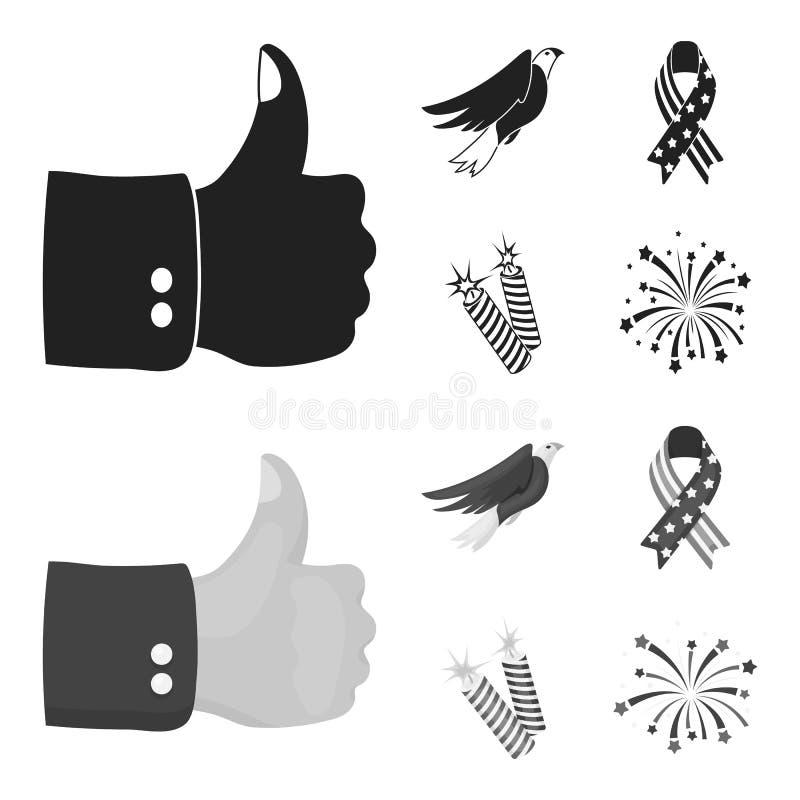 Amerikansk örn, band, honnör För daguppsättning för patriot s symbolerna för samling i svart, monokromt materiel för stilvektorsy vektor illustrationer