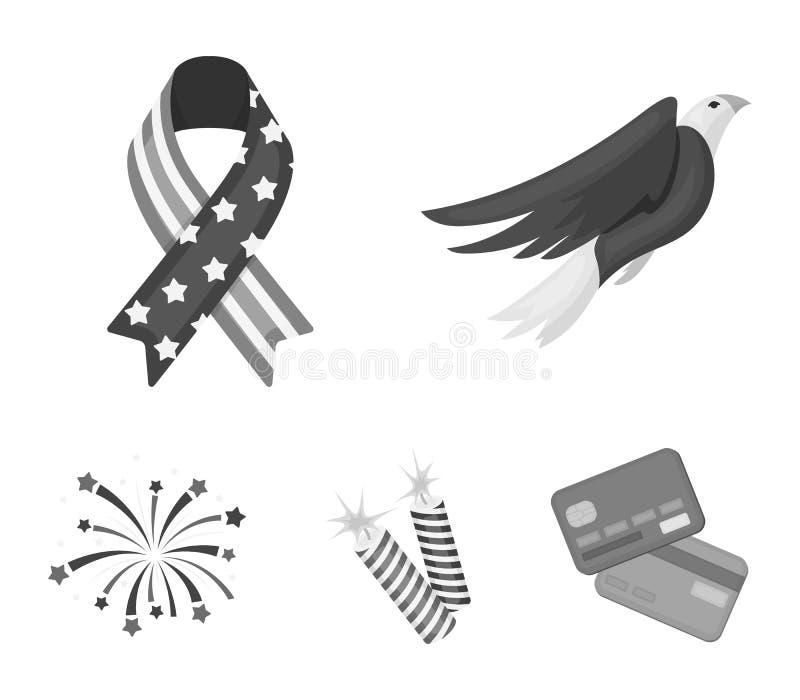 Amerikansk örn, band, honnör Symbolerna för samling för uppsättning för dag för patriot` s i monokromt materiel för stilvektorsym stock illustrationer