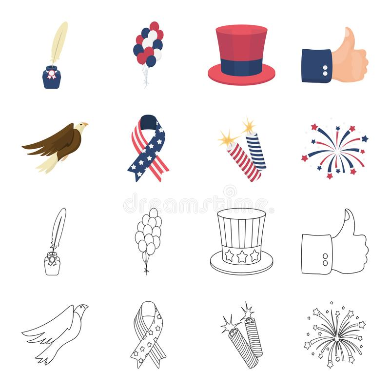Amerikansk örn, band, honnör Symbolerna för samling för uppsättning för dag för patriot` s i tecknade filmen, materiel för symbol royaltyfri illustrationer