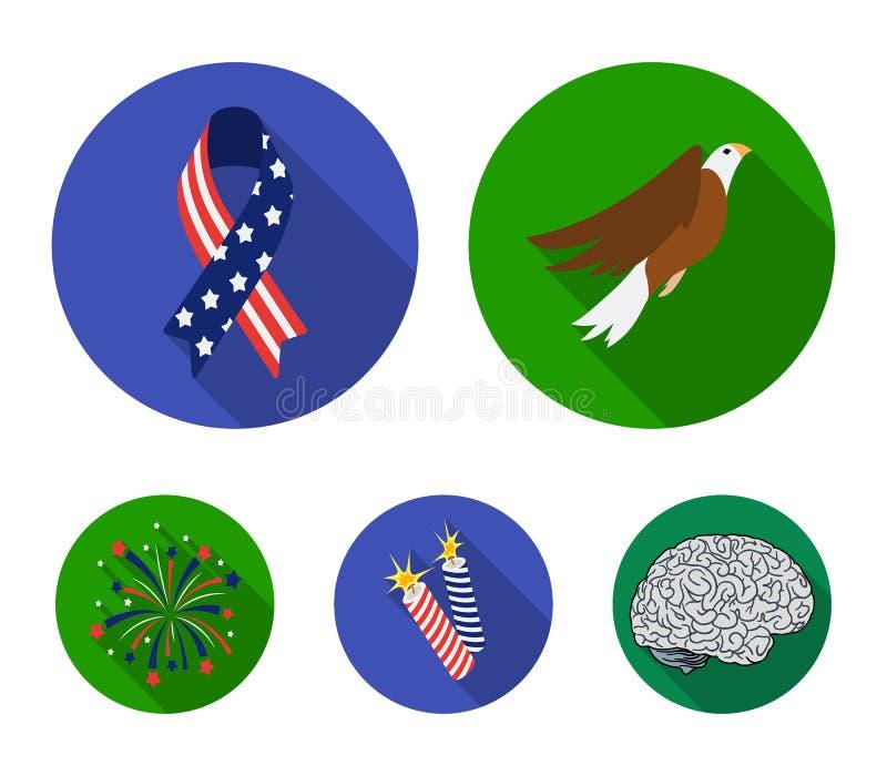 Amerikansk örn, band, honnör Symbolerna för samlingen för uppsättningen för dagen för patriot` s i plant stilvektorsymbol lagerfö stock illustrationer