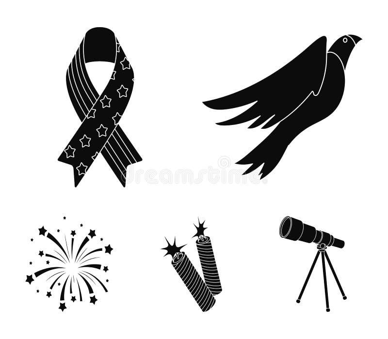 Amerikansk örn, band, honnör Symbolerna för samlingen för uppsättningen för dagen för patriot` s i svart stilvektorsymbol lagerfö vektor illustrationer