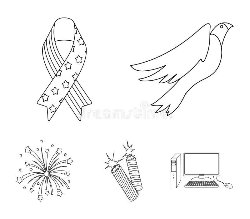 Amerikansk örn, band, honnör Symbolerna för samlingen för uppsättningen för dagen för patriot` s i symbol för översiktsstilvektor stock illustrationer