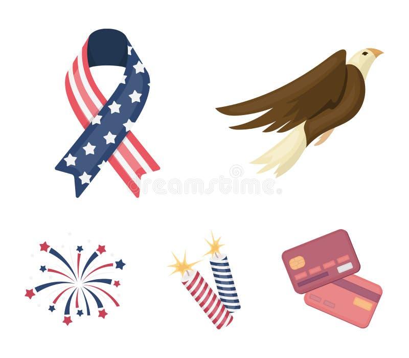 Amerikansk örn, band, honnör Symbolerna för samlingen för uppsättningen för dagen för patriot` s i symbol för tecknad filmstilvek royaltyfri illustrationer
