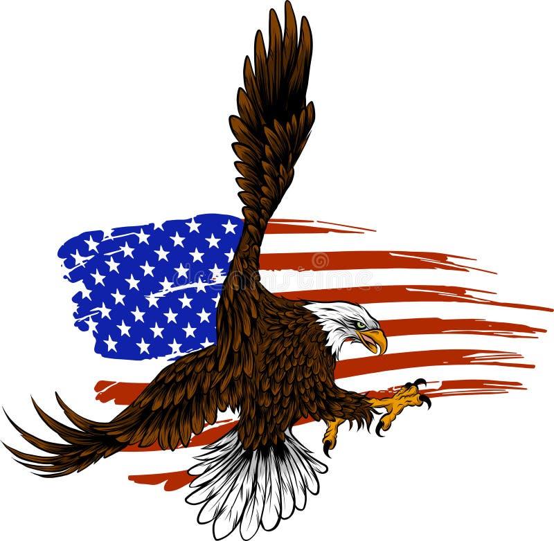Amerikansk örn för vektorillustation mot USA flaggan och vitbakgrund vektor illustrationer