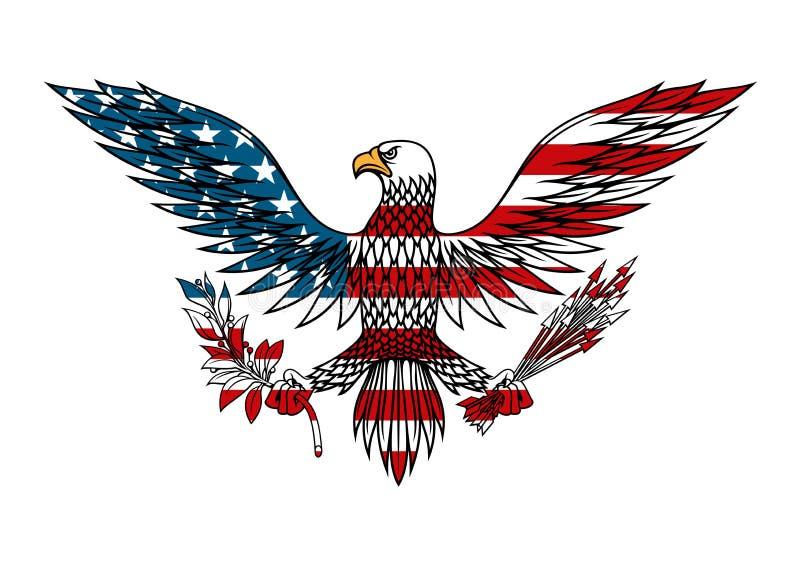 Amerikansk örn som färgas i USA flaggafärger stock illustrationer