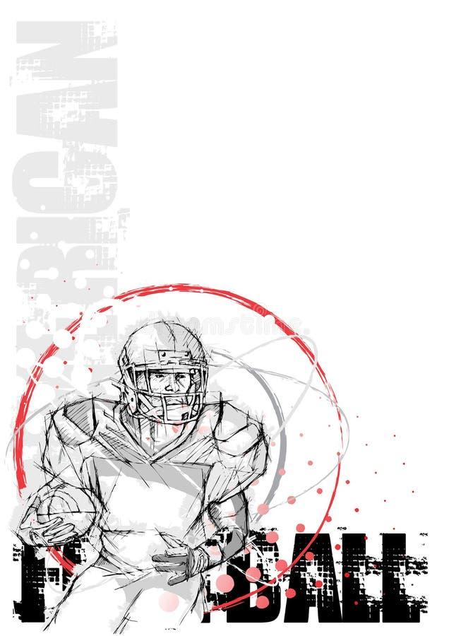 amerikansk affisch för bakgrundscirkelfotboll stock illustrationer