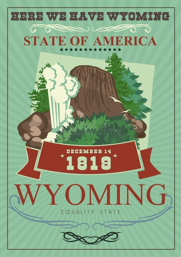 Amerikansk affisch för Wyoming vektor med grön bakgrund USA loppillustration Färgrikt hälsningkort för Amerikas förenta stater royaltyfri illustrationer