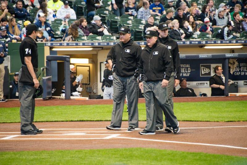 Amerikansk baseballdomare, domare, sportar fotografering för bildbyråer