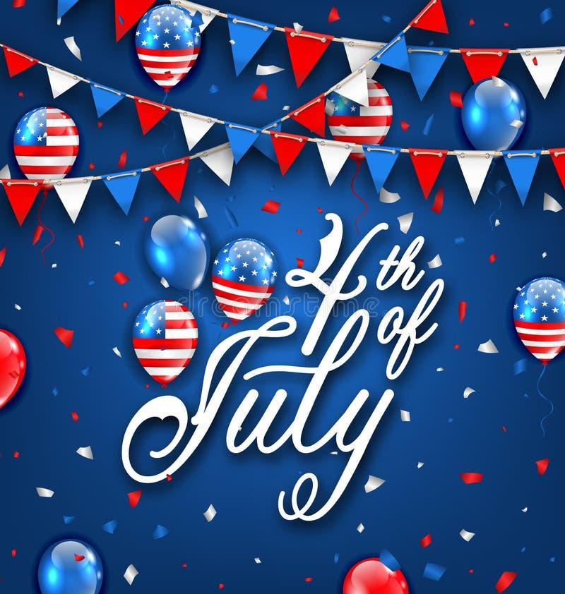 Amerikansk berömbakgrund för självständighetsdagen 4th Juli vektor illustrationer