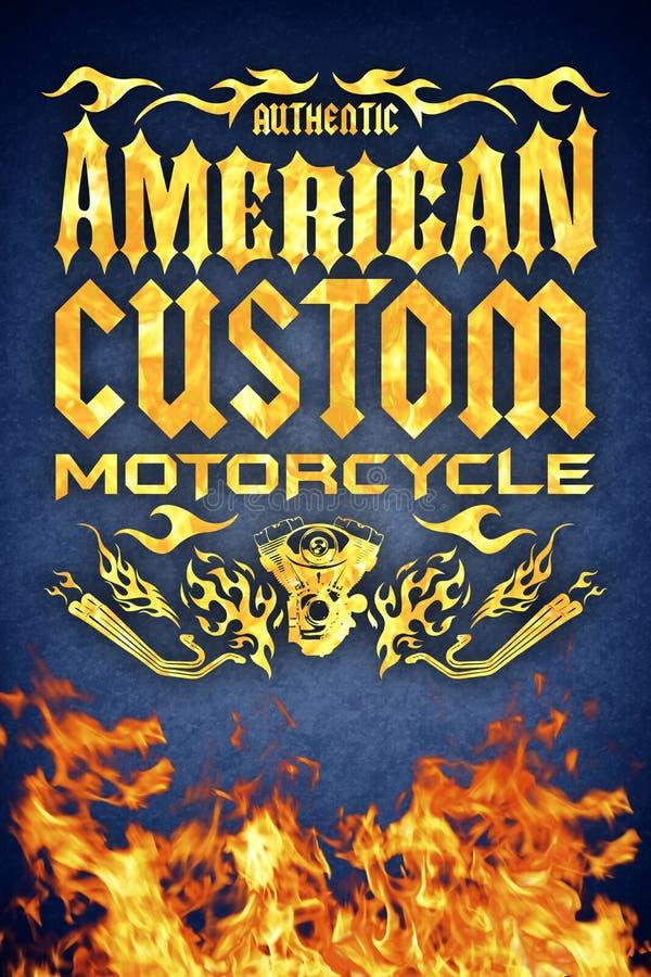 Amerikansk beställnings- motorcykelgrungeaffisch med realistisk brand stock illustrationer