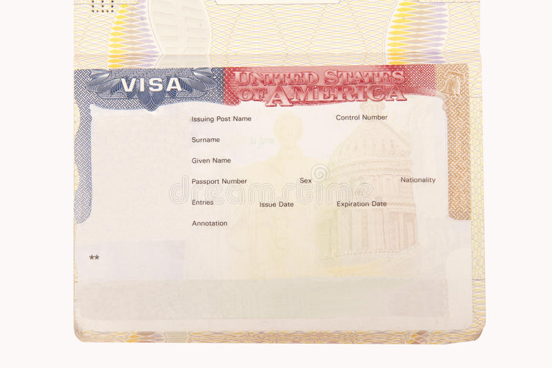 amerikansk blank visa royaltyfri bild