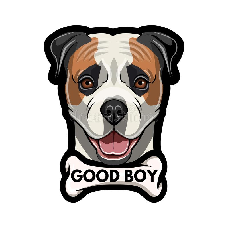 amerikansk bulldogg kvalitets Bra pojkeinskrift Amerikansk bulldogg med benet retro stående vektor vektor illustrationer