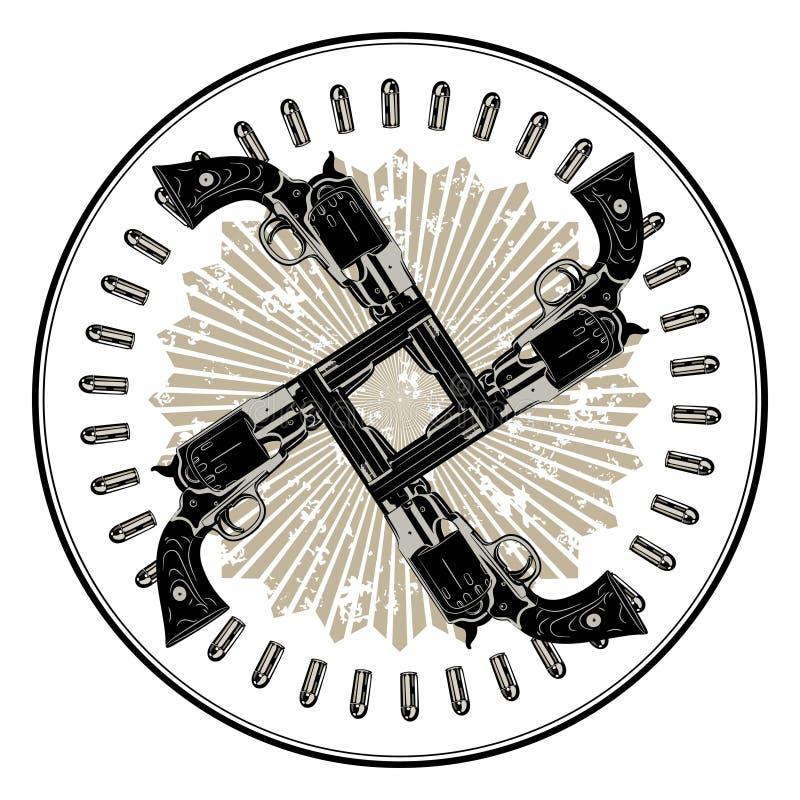 Amerikansk cowboydesign Fyra korsat vapen i en cirkel av kulor royaltyfri illustrationer