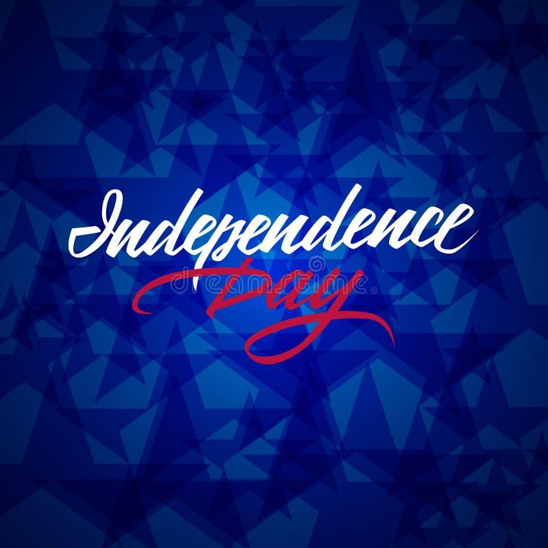 Amerikansk dragen bokstäver för självständighetsdagen hand med bakgrund för blåa stjärnor Fjärdedel av juli modern kalligrafi stock illustrationer