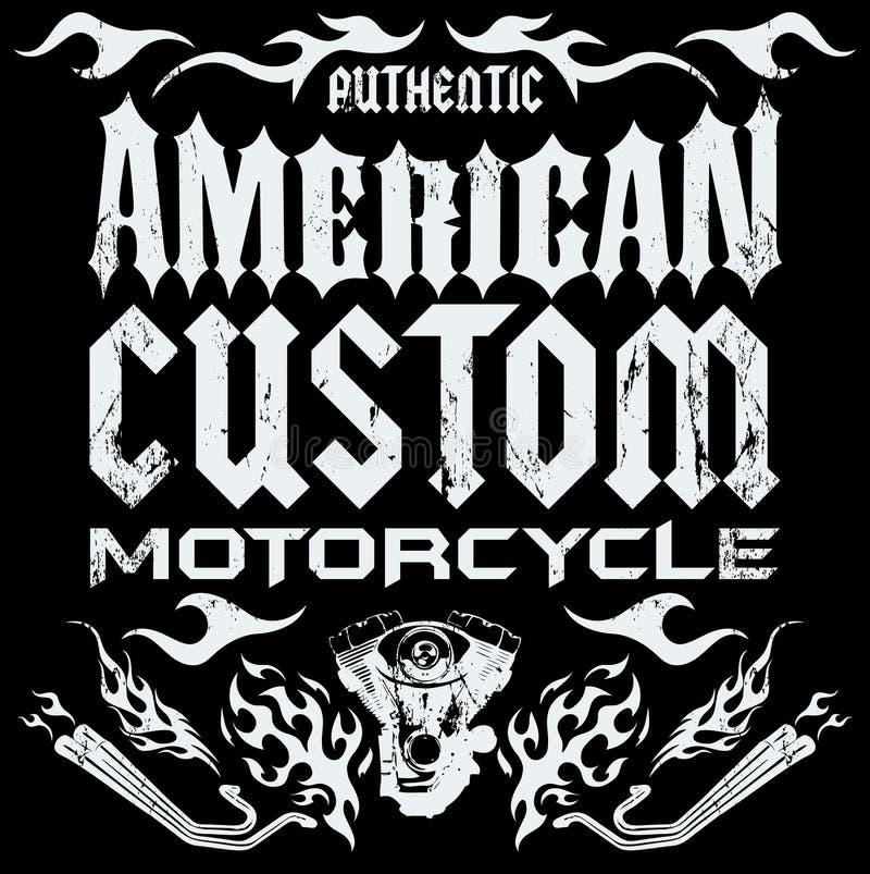 Amerikansk egen - Chopper Motorcycle beståndsdelar vektor illustrationer