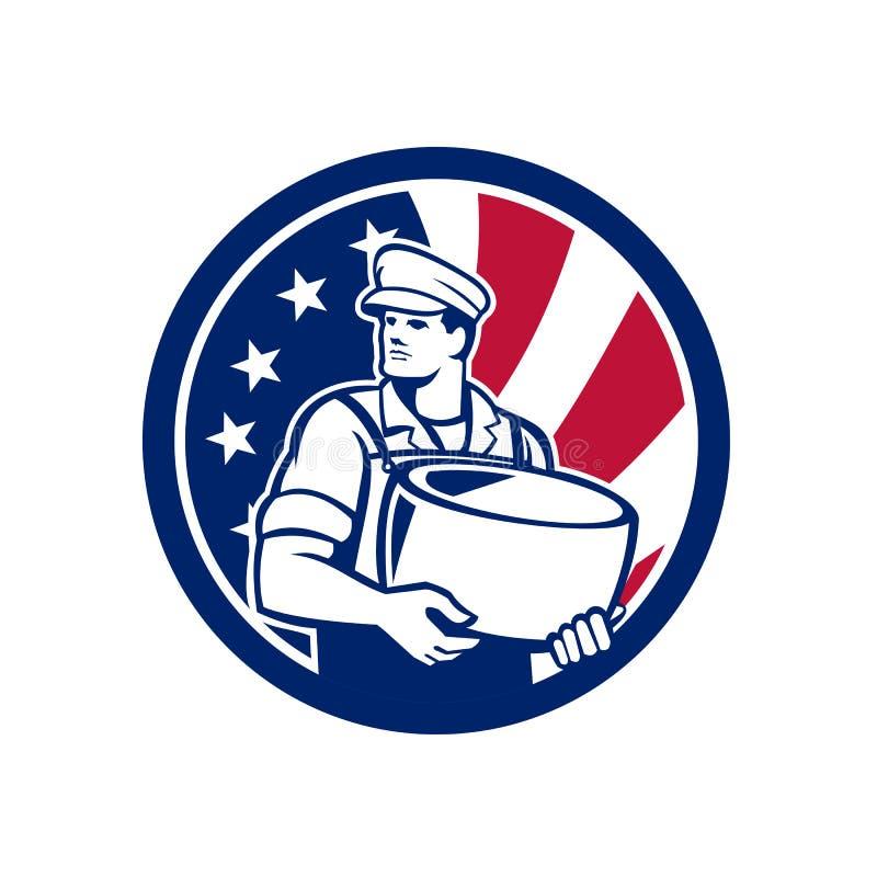 Amerikansk för USA för hantverkareosttillverkare symbol flagga royaltyfri illustrationer