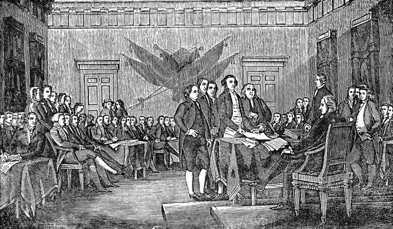 Amerikansk förklaring av självständighet stock illustrationer