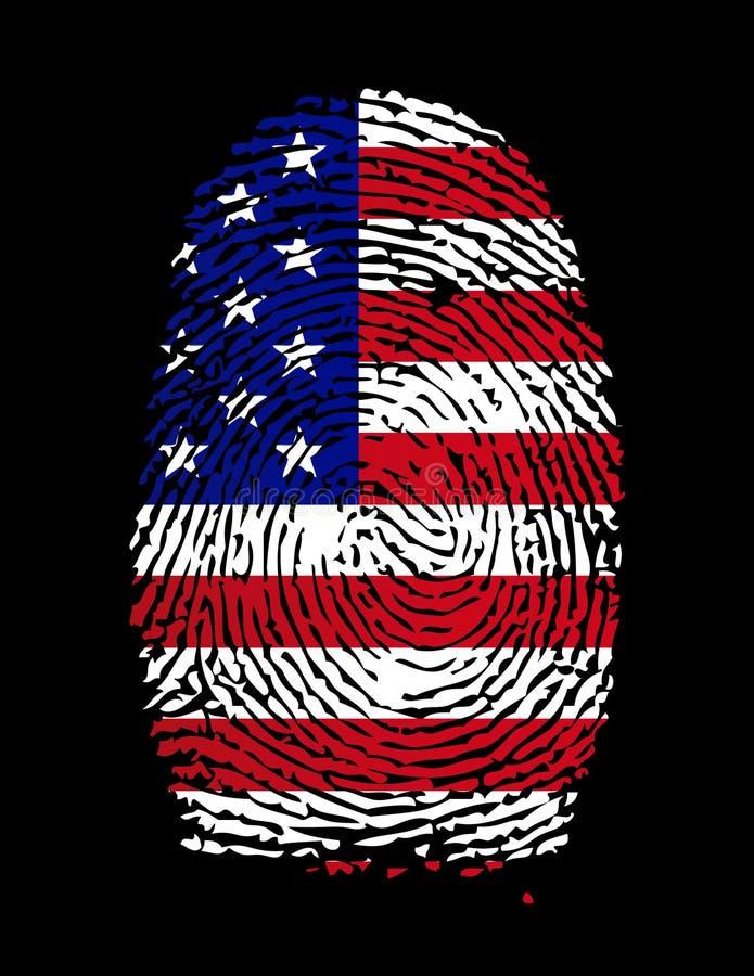 amerikansk fingeravtryckflagga stock illustrationer