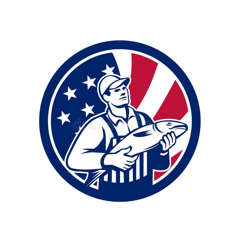 Amerikansk fiskhandlare Union Jack Flag Mascot vektor illustrationer