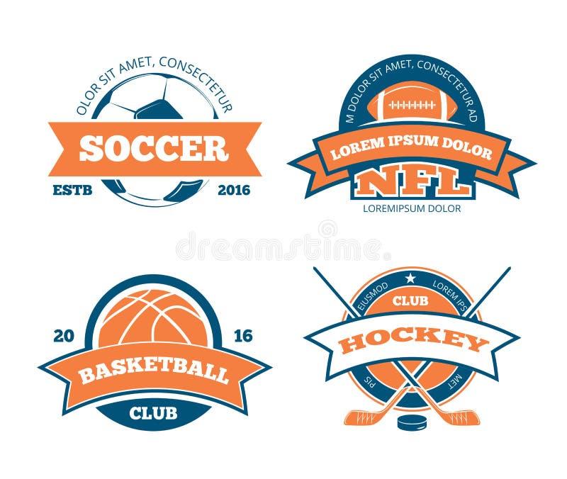 Amerikansk fotboll, basket, fotboll, etiketter, emblem, logoer och emblem för vektor för hockeysportlag vektor illustrationer