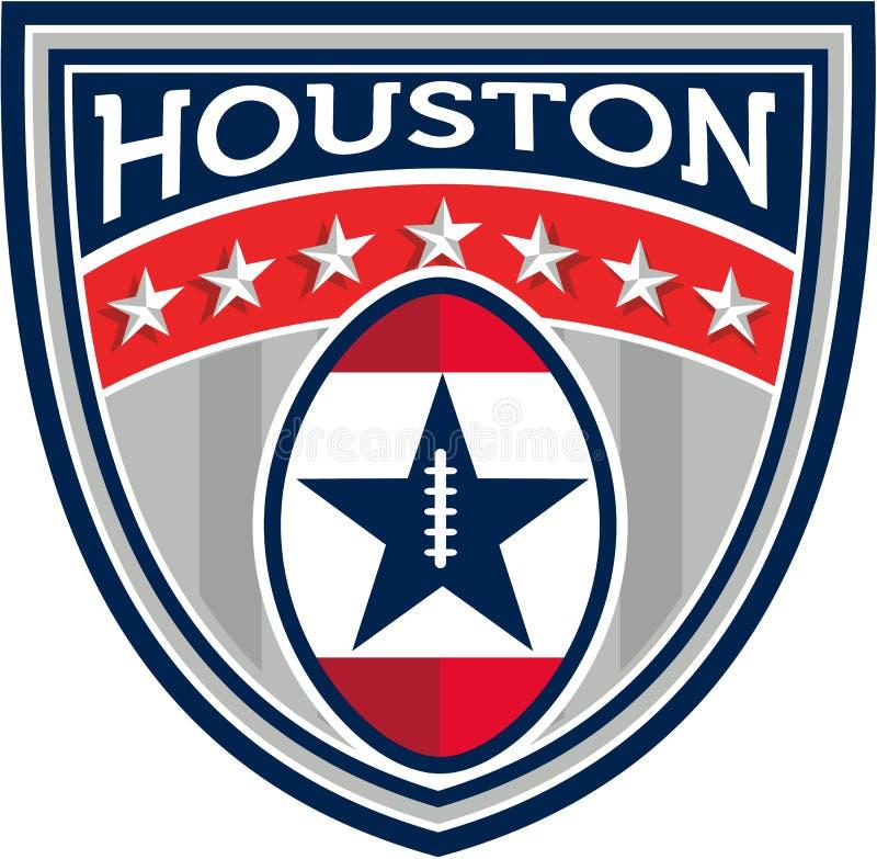 Amerikansk fotboll Houston Stars Stripes Crest Retro royaltyfri illustrationer