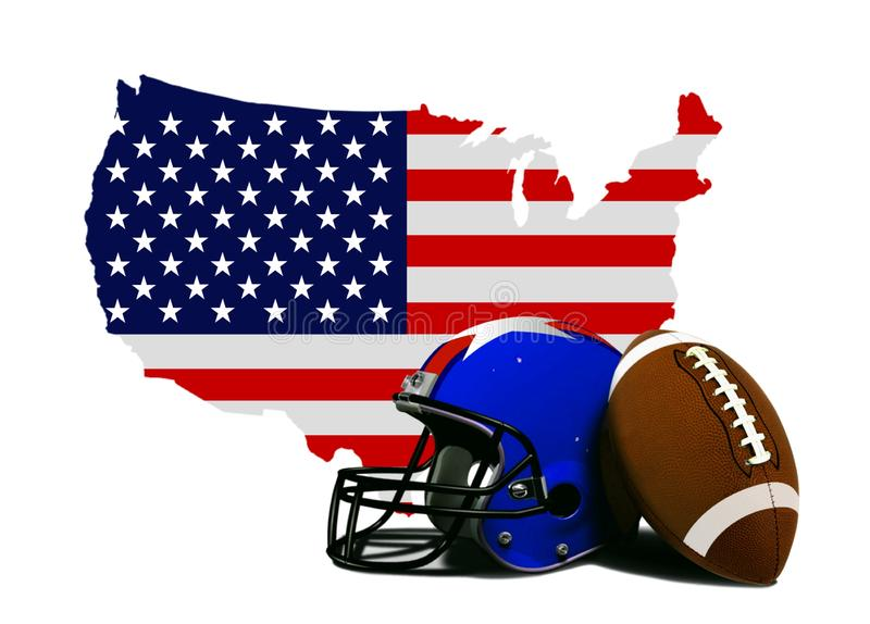 Amerikansk fotboll med flaggan och översikten royaltyfri illustrationer