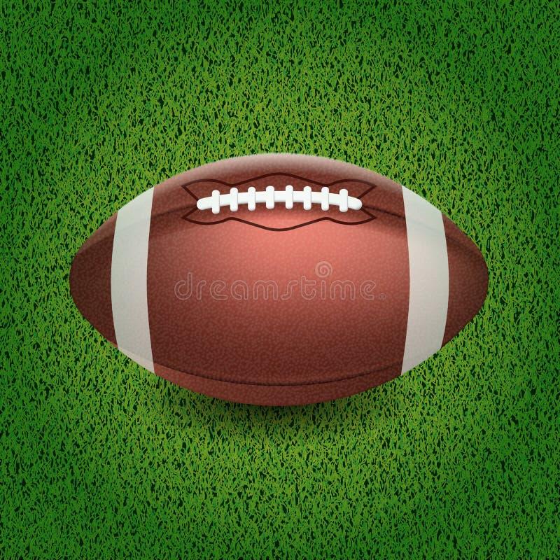 amerikansk fotboll Vektorillustration av bollen på gräset royaltyfri illustrationer