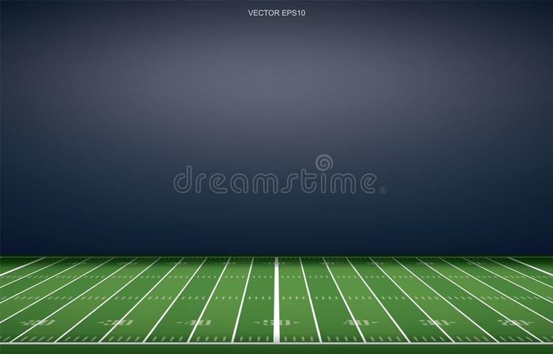 Amerikansk fotbollsarenabakgrund med perspektivlinjen modell av gräsfältet stock illustrationer