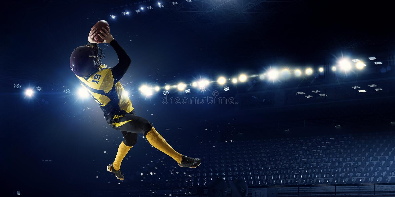 amerikansk fotbollsspelare Blandat massmedia fotografering för bildbyråer