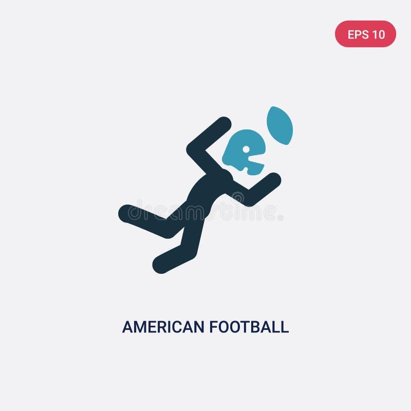 Amerikansk fotbollsspelare för två färg som fångar bollvektorsymbolen från sportbegrepp isolerad bl? amerikansk fotbollsspelare stock illustrationer