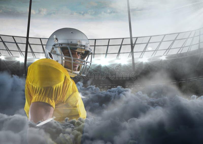 amerikansk fotbollsspelare i stadion med rök royaltyfri illustrationer