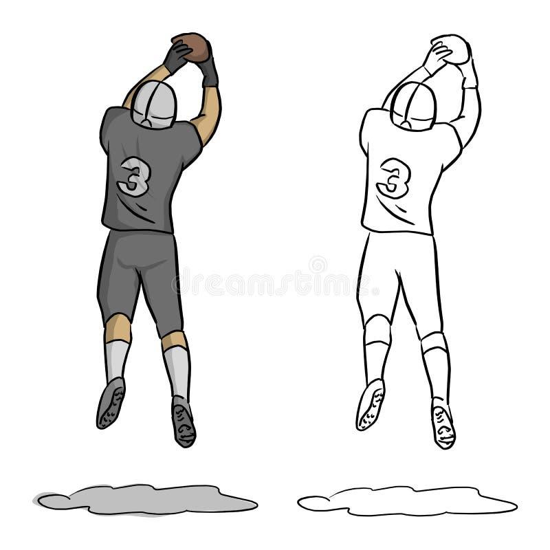 Amerikansk fotbollsspelare nummer tre som hoppar för att få bollen in stock illustrationer