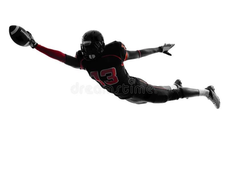 Amerikansk fotbollsspelare som gör poäng landningsögonblickkonturn royaltyfri bild