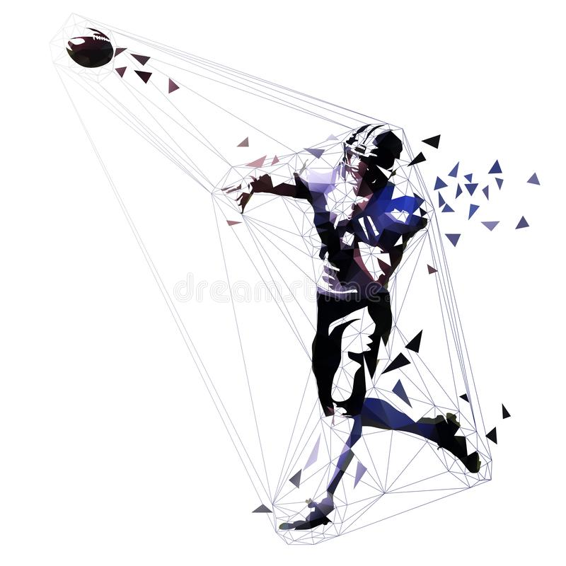 Amerikansk fotbollsspelare som kastar bollen royaltyfri illustrationer