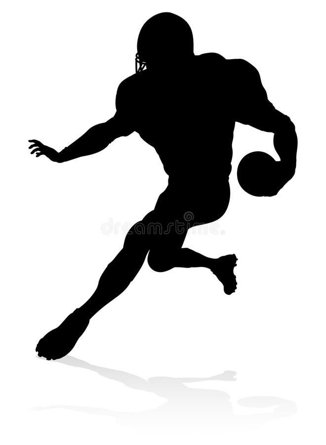 amerikansk fotbollsspelaresilhouette vektor illustrationer