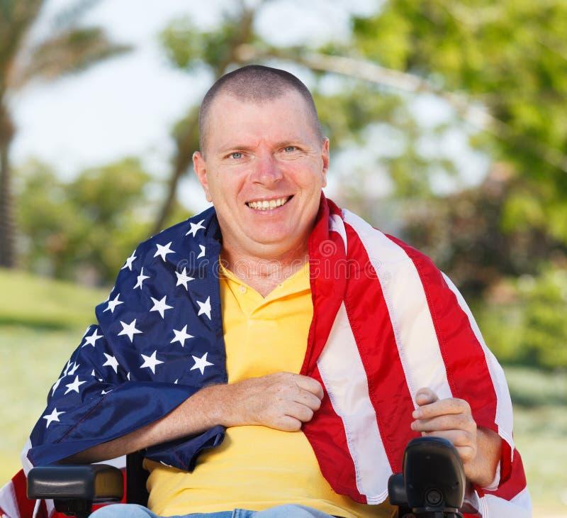 Amerikansk frihet i rullstol royaltyfria bilder