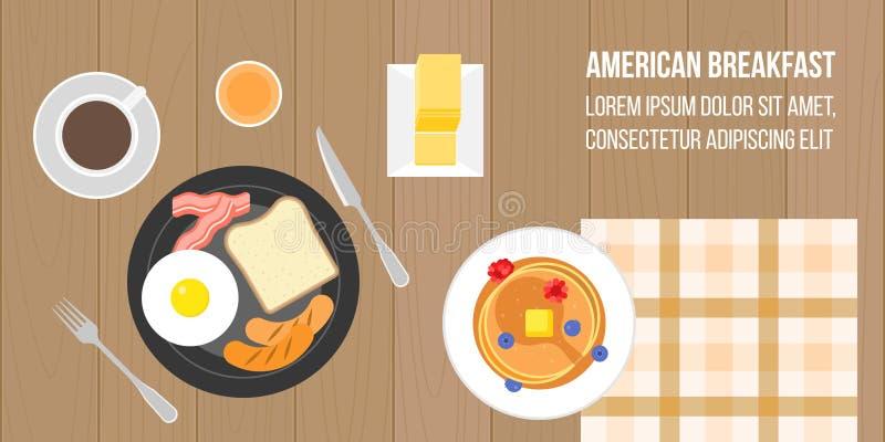 amerikansk frukost royaltyfri illustrationer