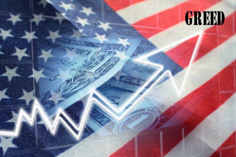 Amerikansk girighet för mer högkvalitativa vinster arkivbild