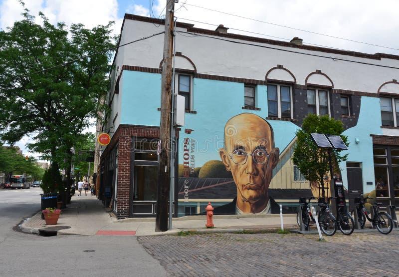 Amerikansk gotisk väggmålning - kort norr konstområde - Columbus, oj arkivbilder