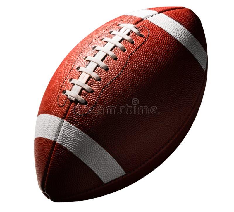 Amerikansk högskolahögstadiumfotboll på vit royaltyfri fotografi