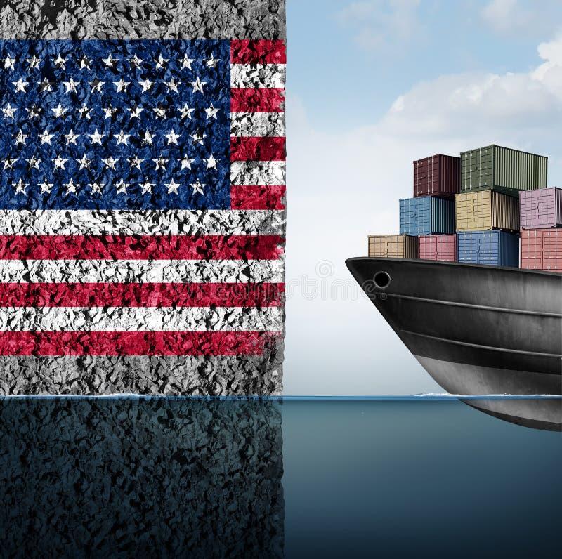 Amerikansk handelbarriär stock illustrationer