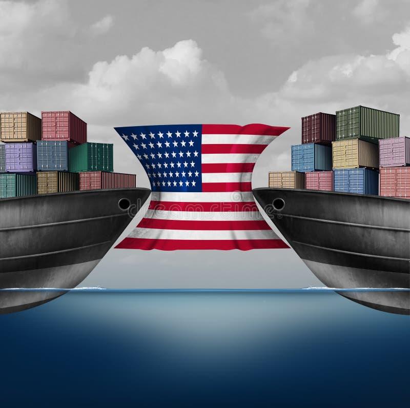 Amerikansk handelbegränsning stock illustrationer