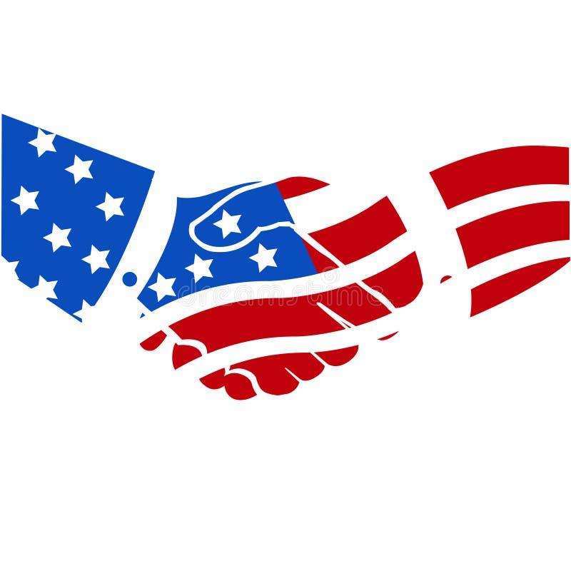 amerikansk handskakning USA royaltyfri illustrationer