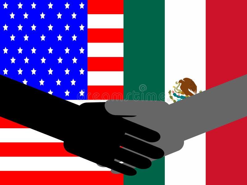 amerikansk handskakningmexikan vektor illustrationer