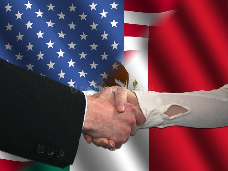 amerikansk handskakningmexikan royaltyfri illustrationer