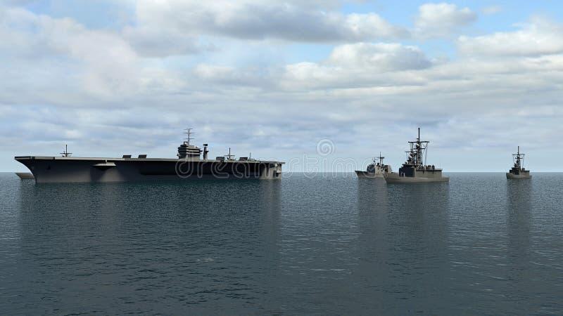 Amerikansk hangarfartyg med jagare och en kryssare i Stilla havet in mot norr Koreaì vektor illustrationer